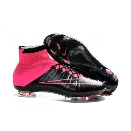 Scarpe da Calcio Nuovi Ronaldo Nike Mercurial Superfly FG Pelle Nero Rosa
