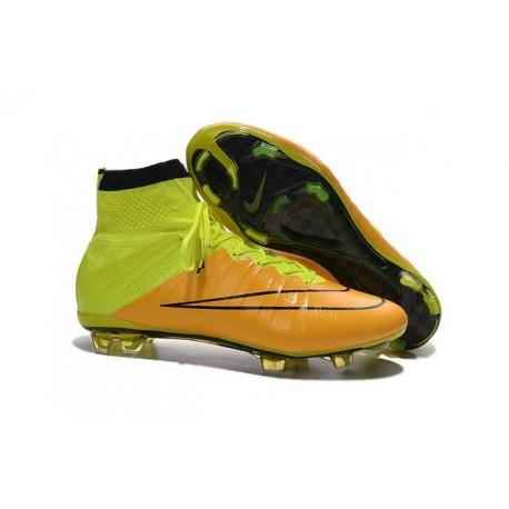 Nike Mercurial Superfly FG Nuove Scarpe Calcetto Pelle Giallo Volt