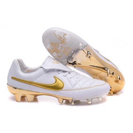 Scarpini da Calcetto Nike Tiempo R10 ACC FG Bianco Oro