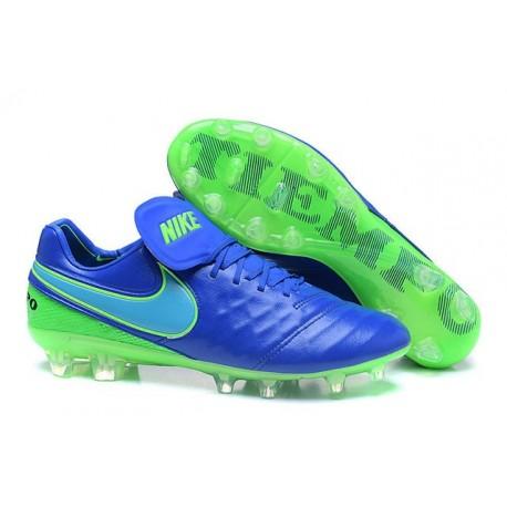 Nike Scarpette da Calcio 2016 Tiempo Legend 6 Tech Craft FG Blu Verde