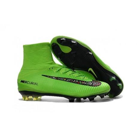 Nike Mercurial Superfly V FG ACC Nuove Scarpa da Calcetto Verde Nero