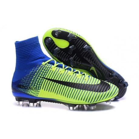 Nike Mercurial Superfly V FG ACC Nuove Scarpa da Calcetto Verde Blu Nero