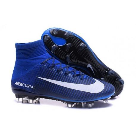 Nike Mercurial Superfly V FG ACC Nuove Scarpa da Calcetto Blu Bianco