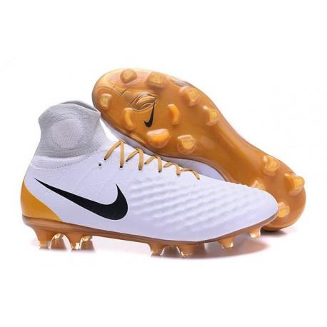 Nuovo Nike Scarpa da Calcio Magista Obra 2 FG Bianco Oro Nero