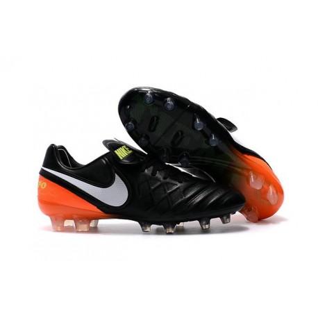 Nike Tiempo Legend VI FG Pelle Scarpe Calcio Nero Arancio