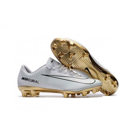 Nike Mercurial Vapor Vitórias XI FG Scarpe Calcio Uomo Bianco Oro