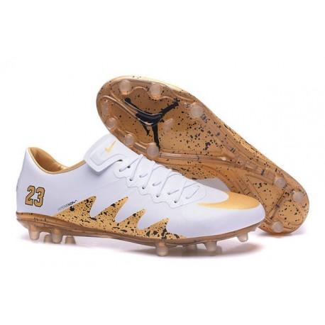 Scarpini Calcio Nuove Nike Hypervenom Phinish FG Neymar Jordan Bianco Oro