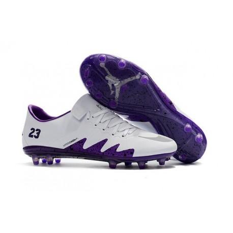Scarpini Calcio Nuove Nike Hypervenom Phinish FG Neymar X Jordan Bianco Viola