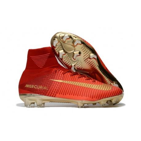 Scarpe 2017 Nike Mercurial Superfly V CR7 FG ACC Rosso Oro