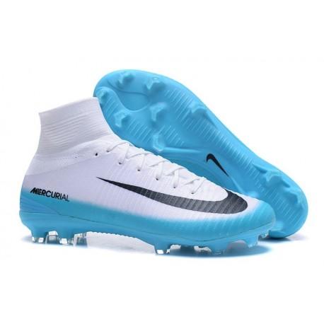 Nike Nuovo Scarpa Calcio Mercurial Superfly 5 FG Uomo Bianco Blu