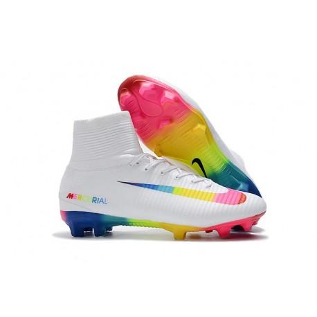 Scarpe Nuovo Nike Mercurial Superfly V FG ACC Bianco Colorato