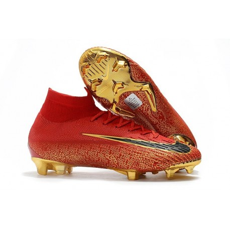 Nike Scarpa Mercurial Superfly 6 Elite DF FG - Rosso Nero Oro
