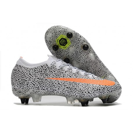 Nike Mercurial Vapor 13 Elite SG Anti Clog CR7 Bianco Arancione Nero
